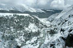 De winter in het Himalayagebergte Stock Afbeeldingen