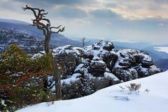 De winter in het landschap van Europa Sneeuw in de rots Ochtend met sneeuw Het landschap van de winter met sneeuw Landschap van D Royalty-vrije Stock Afbeelding