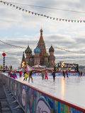 De winter het schaatsen piste op Rood Vierkant Royalty-vrije Stock Foto