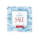 De winter het winkelen verkoopbanner met het van letters voorzien Sneeuwkader backgroun stock illustratie