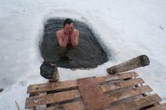 De winter het zwemmen Stock Foto