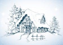 De winter idyllisch landschap stock illustratie