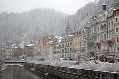 De winter in Karlovy variërt royalty-vrije stock afbeelding