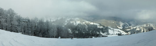 De winter in Karpatische Bergen, panorama royalty-vrije stock afbeelding