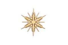 De winter, Kerstmis, Nieuwjaar houten decoratie - sneeuwvlok, ster Stock Foto's