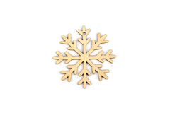 De winter, Kerstmis, Nieuwjaar houten decoratie - sneeuwvlok, ster Royalty-vrije Stock Foto's