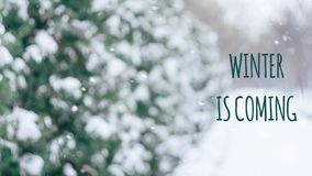 De winter is komende tekst met de sneeuwsteeg van de de winterscène in het park De winter background stock illustratie