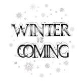 De winter komt, het vector van letters voorzien met sneeuwvlokken Stock Foto's