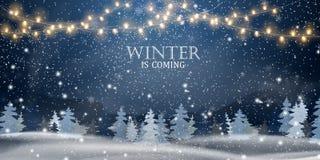 De winter komt Kerstmis, nacht, Sneeuw Boslandschap Het landschap van de vakantiewinter voor Vrolijke Kerstmis met sparren stock illustratie