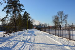 De winter kwam met sneeuw aan Stock Fotografie