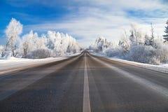 De winter landelijk landschap met de weg bos en blauwe sk Stock Fotografie