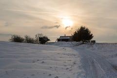 De winter Landschaft, Berghuette-Alpen, Schnee, Stock Afbeeldingen