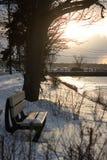 2017 de Winter landschap-bij zonsondergang Stock Afbeeldingen