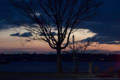 2017 de Winter landschap-zonsondergang silhouet Stock Afbeelding