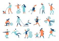 De winter Lopende Mensen De wintersactiviteiten, het actieve man sledging en vrouwengang in warme kostuumvector geïsoleerde reeks royalty-vrije illustratie