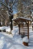 De winter in Maart in stadspark 4 royalty-vrije stock afbeelding
