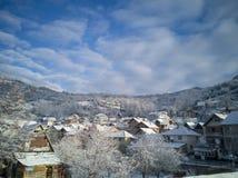De winter is mooi in het platteland stock fotografie