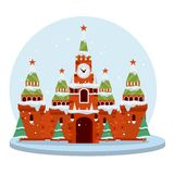 De winter Moskou Beeldverhaal vlakke illustratie royalty-vrije illustratie
