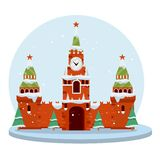 De winter Moskou Beeldverhaal vlakke illustratie vector illustratie