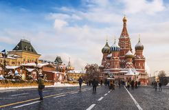 De winter Moskou Toeristen in Rood vierkant, stock afbeeldingen