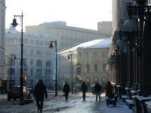 De winter n het centrum van Moskou Stock Afbeeldingen