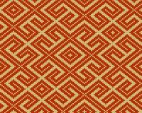 De winter Naadloos gebreid Oud Russisch nationaal wollen patroon Ontwerp Oranje Labyrint Stock Fotografie
