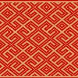 De winter Naadloos gebreid Oud Russisch nationaal wollen patroon Ontwerp Rood Labyrint Stock Foto