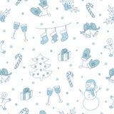 De winter naadloos patroon met Kerstmisboom, sneeuwman, peperkoek, hulstbes, enz. Vector illustratie Royalty-vrije Stock Foto's