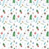 De winter naadloos patroon met Kerstmisdecoratie en Kerstmisbomen vector illustratie