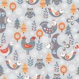 De winter naadloos patroon met vogels, bomen, sneeuwvlokken vector illustratie
