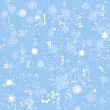 De winter naadloze achtergrond met sneeuwvlokken en sneeuw Stock Foto