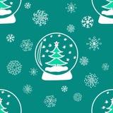 De winter naadloze patronen met hand getrokken elementen Stock Afbeelding