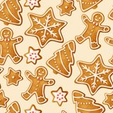 De winter naadloze patronen met peperkoekkoekjes Stock Afbeelding