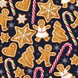 De winter naadloze patronen met peperkoekkoekjes Stock Afbeeldingen