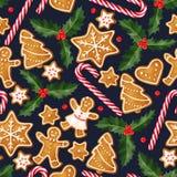 De winter naadloze patronen met peperkoekkoekjes Royalty-vrije Stock Foto's