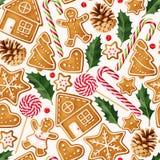 De winter naadloze patronen met peperkoekkoekjes Royalty-vrije Stock Afbeelding