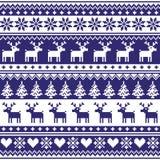 De winter, Noords naadloos marineblauw patroon met rendier Royalty-vrije Stock Fotografie