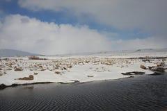 De winter op de banken van Kaldbakur-meren. Stock Afbeeldingen