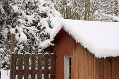De winter op het landbouwbedrijf Stock Foto