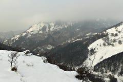 De winter op de heuvels Stock Afbeelding