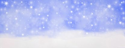 De winter openlucht met dalende sneeuwvlokken, Panoramische Webbanner hor stock illustratie