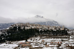De winter in Opi, Abruzzo Stock Foto