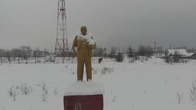 De winter oude Lenin stock videobeelden
