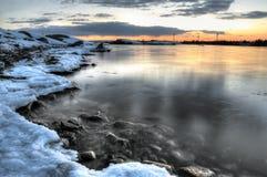De winter overzeese baai Stock Fotografie