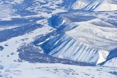 De winter Oymyakon Yakutia van een vogelperspectief stock afbeeldingen