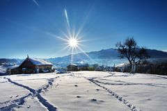 De winter in Pestera-Dorp, het nationale park van Piatra Craiului, Brasov, Roemenië Royalty-vrije Stock Afbeeldingen