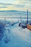 De winter in Roemeens platteland Stock Afbeeldingen