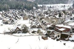 De winter Shirakawago met Sneeuwval Gifu Chubu Japan royalty-vrije stock foto