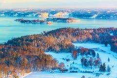 De winter Skandinavisch landschap Stock Afbeeldingen
