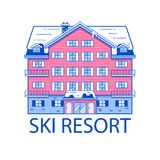 De winter Ski Resort Line Illustration royalty-vrije illustratie